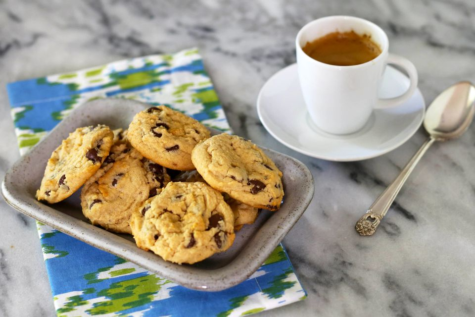 peanut butter chocolate chip cookies and espresso