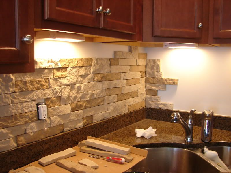 Manufactured Veneer Stone Kitchen Backsplash
