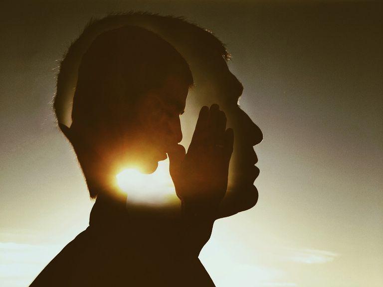 man praying meditation healing