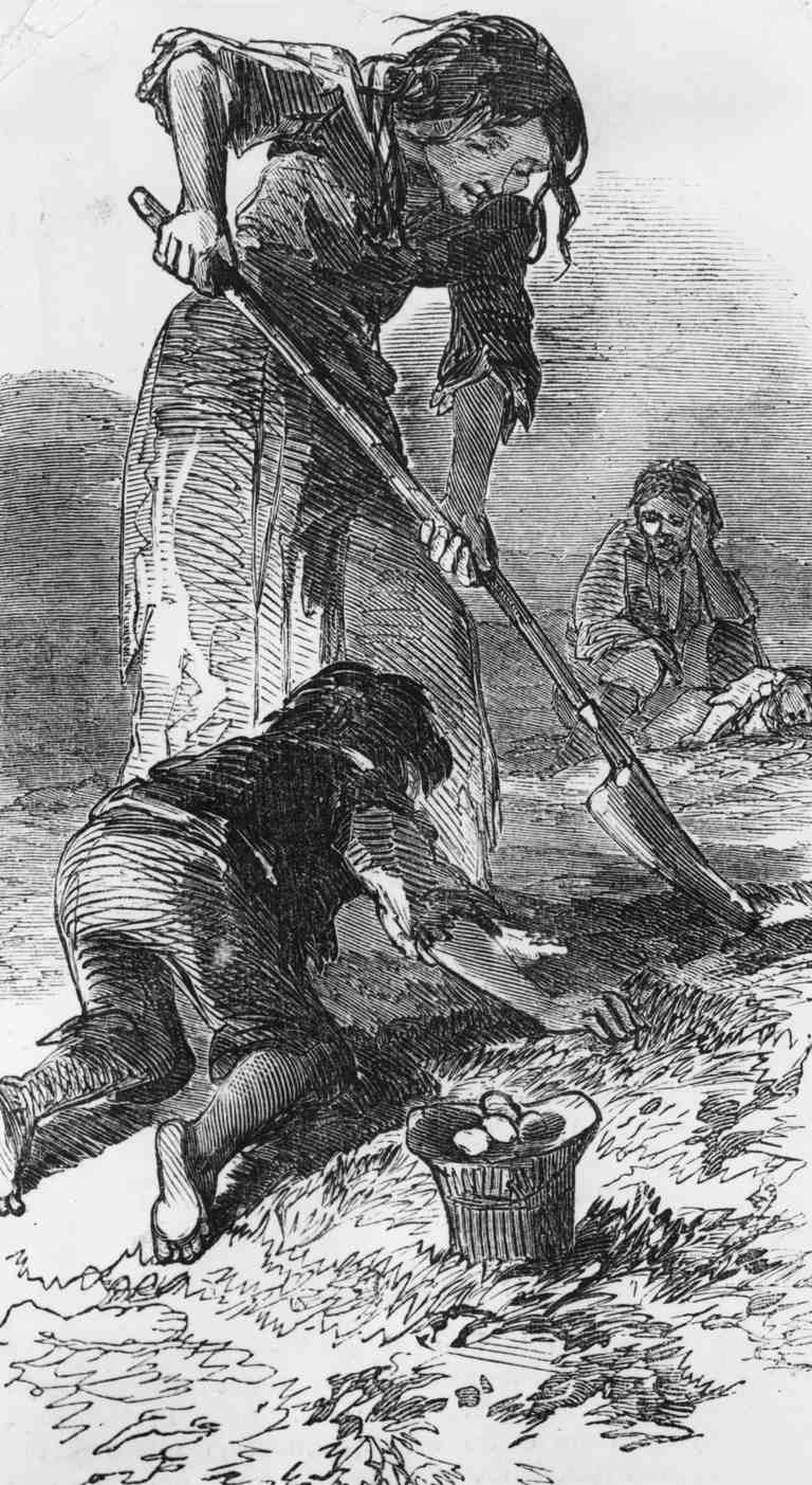 Starving family during Great Famine in Ireland