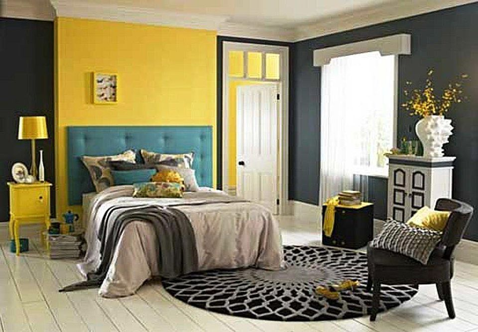 Yellow And Gray Bedroom Prepossessing Yellow Gray And Teal Inspiration