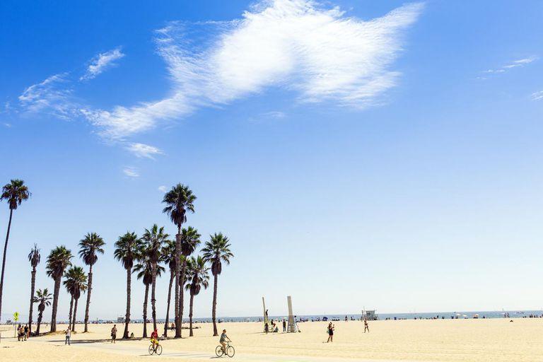 Cyclists at Santa Monica, California, USA