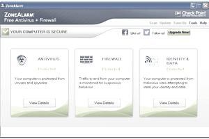 Screenshot of ZoneAlarm Free Antivirus + Firewall in Windows XP
