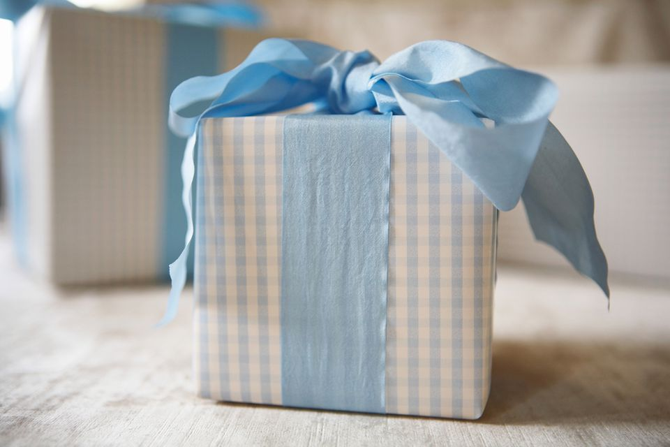 blue gingham gift with blue ribbon