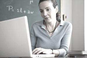 Teacher on computer