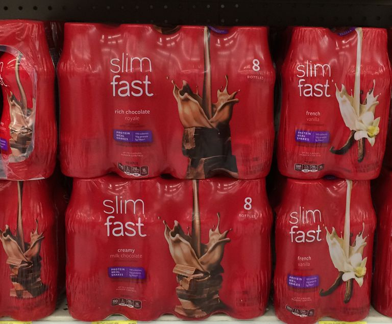 Slim Fast chocolate shakes packaged on shelf