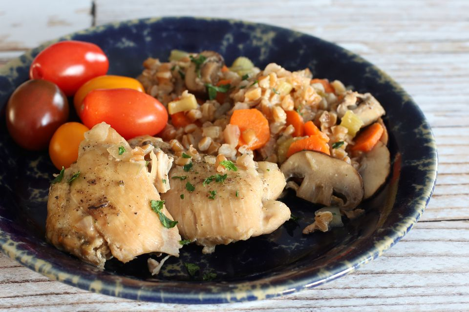 Slow Cooker Chicken Thighs With Farro
