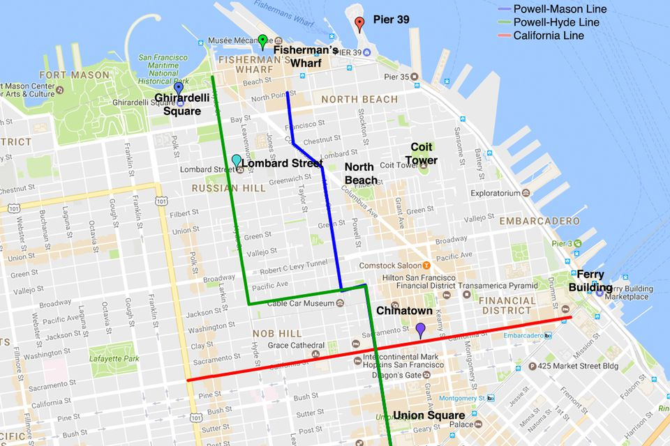 San franciscos popular tourist areas map of the san francisco cable car routes sciox Choice Image