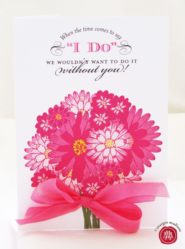19 free printable will you be my bridesmaid cards a pink bouquet on a will you be my bridesmaid card pronofoot35fo Image collections
