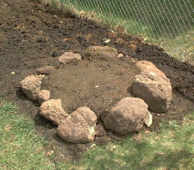 Picture of the base or first course of a rock garden.
