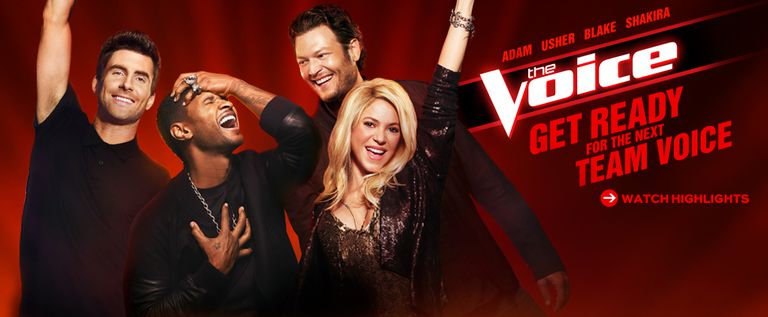 The Voice Judges Adam, Usher, Blake, Shakira