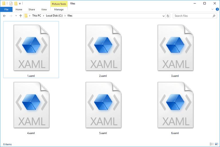 Screenshot of several XAML files in Windows 10