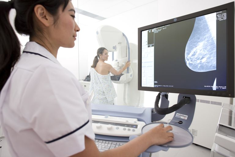 Radiologist reviewing results of patients mammogram
