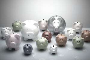 Different types of piggy banks, various colors