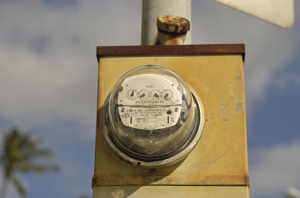 Outdoor electricity meter.