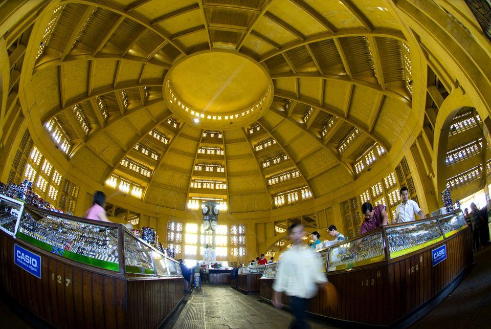 Interior of Central Market, Phnom Penh, Cambodia