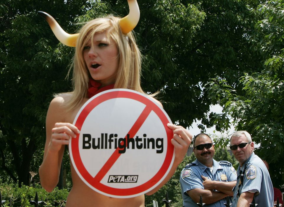 Naked Activists Protest Spain's Running Of The Bulls
