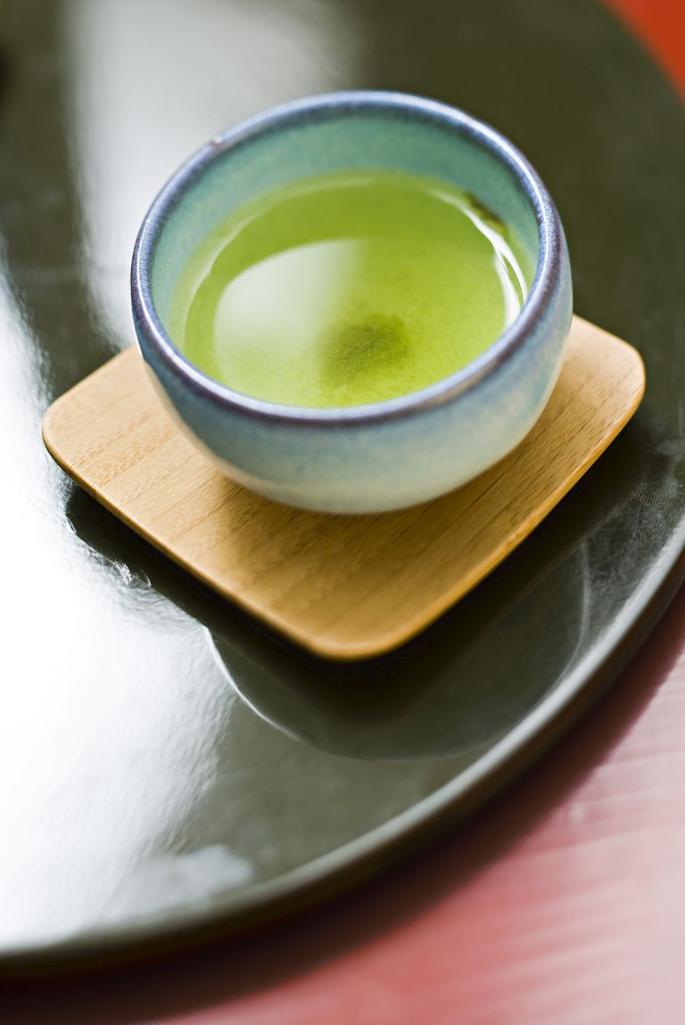 Cup of green tea with sediment in bottom