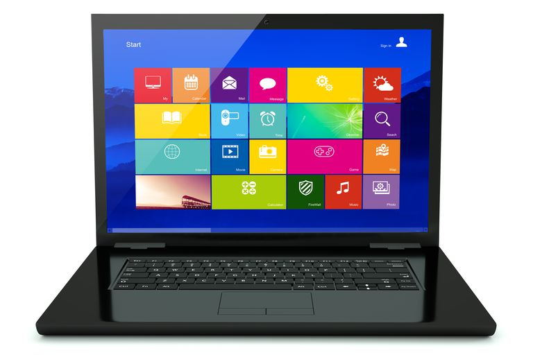 Black laptop with icon