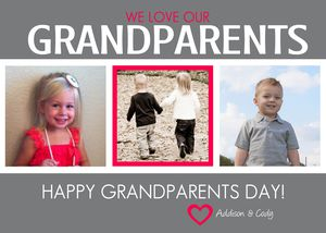 A pink and gray Grandparent's Day card.
