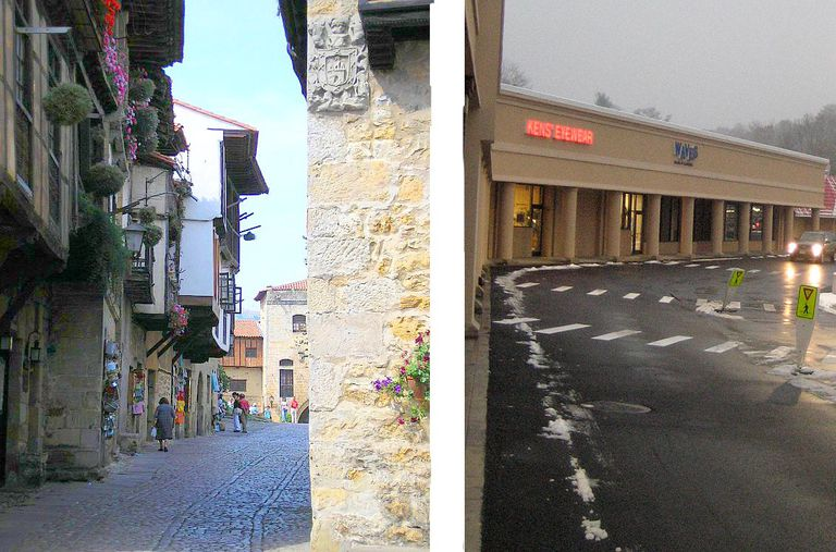 A street in Santillanda del Mar, Spain and a strip mall in the USA