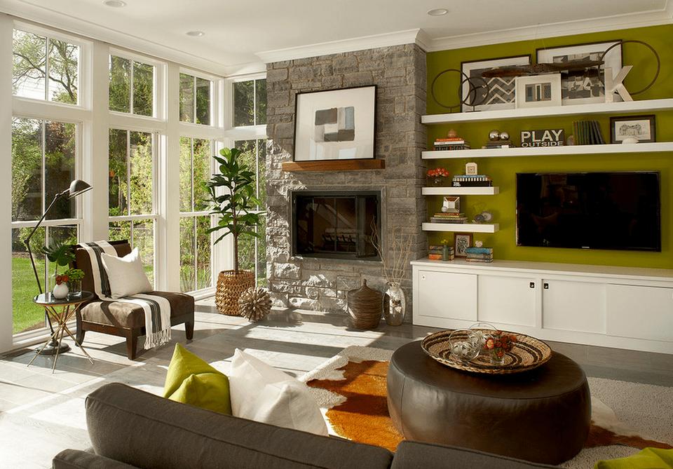 Featuring A Green Wall Modern Farmhouse Living Room
