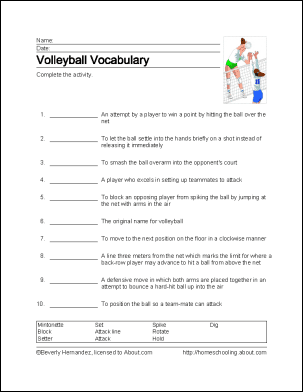 volleyball worksheets resultinfos. Black Bedroom Furniture Sets. Home Design Ideas