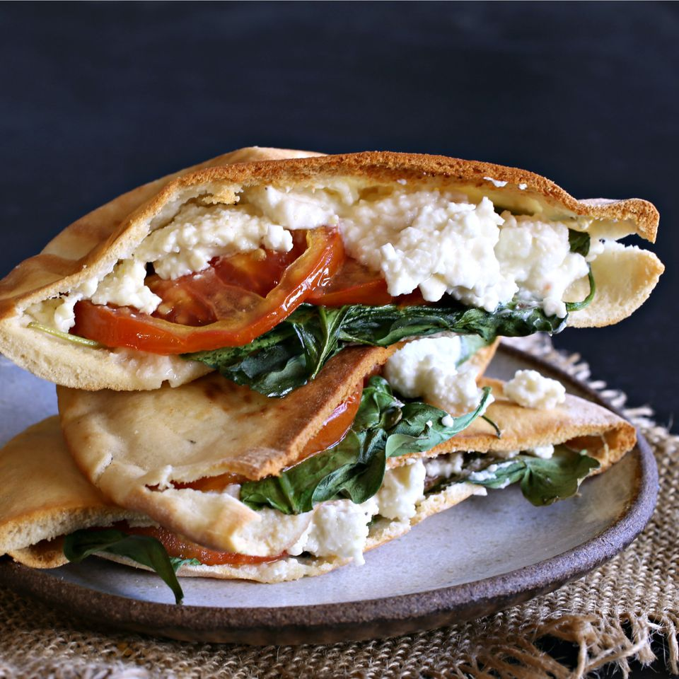 Pita Grilled Cheese with Spinach and Feta