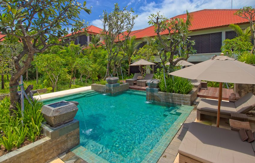 Pool and private villa at Fairmont Sanur Beach Bali luxury resort