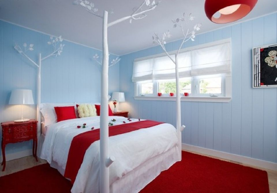 The Bedroom Goes Red White and Blue