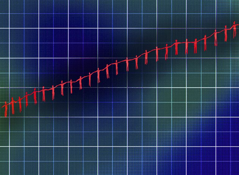 People holding hands forming increasing line graph