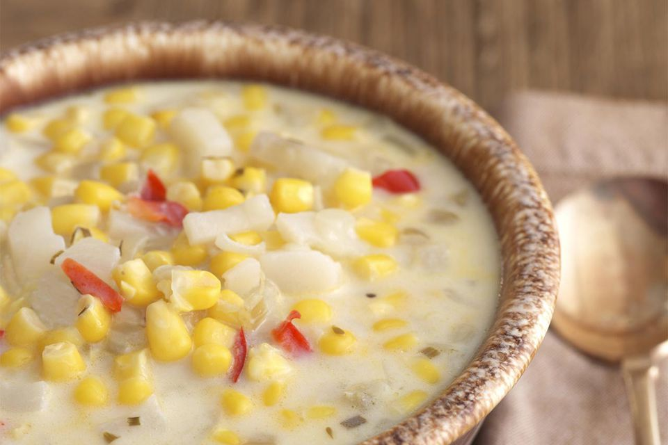 Close up of corn chowder