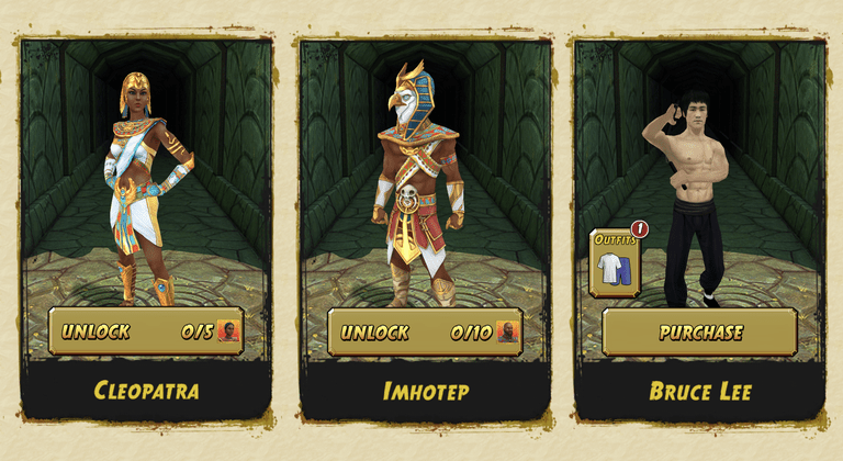 Temple Run 2 characters Cleopatra, Imhotep and Bruce Lee.