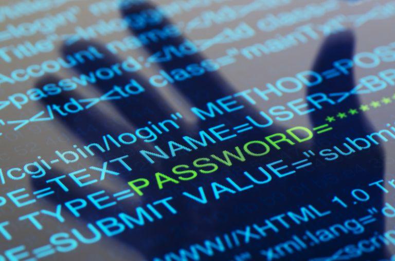computer code showing password