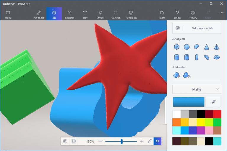 Screenshot of three Paint 3D doodles
