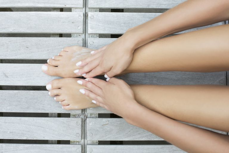 woman's legs, feet and hands