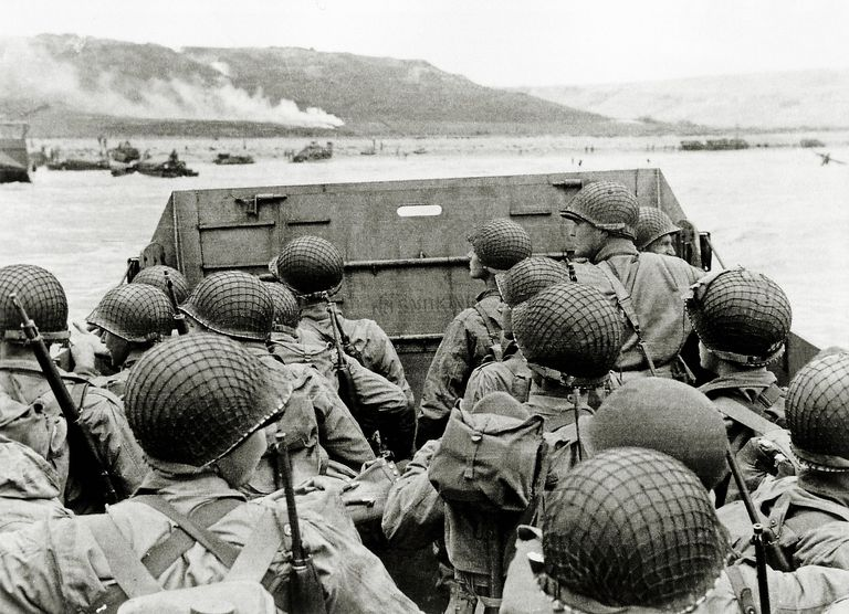 A picture of a landing craft filled with soldiers on D-Day