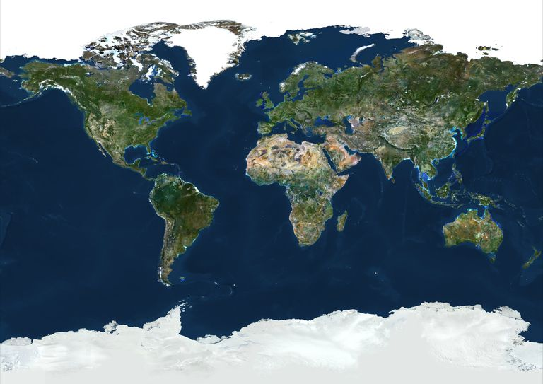 World With Arctic Ice Pack In Geographic Projection, True Colour Satellite Image