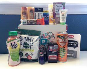 A group of free samples in front of a PINCHme box.