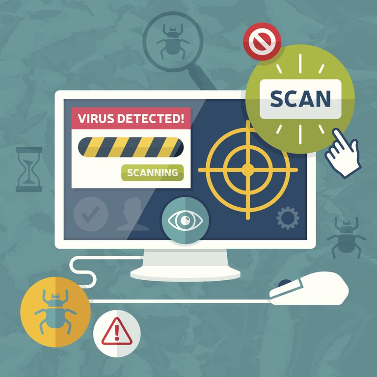 Illustration representing a detected virus and a scan to remove it