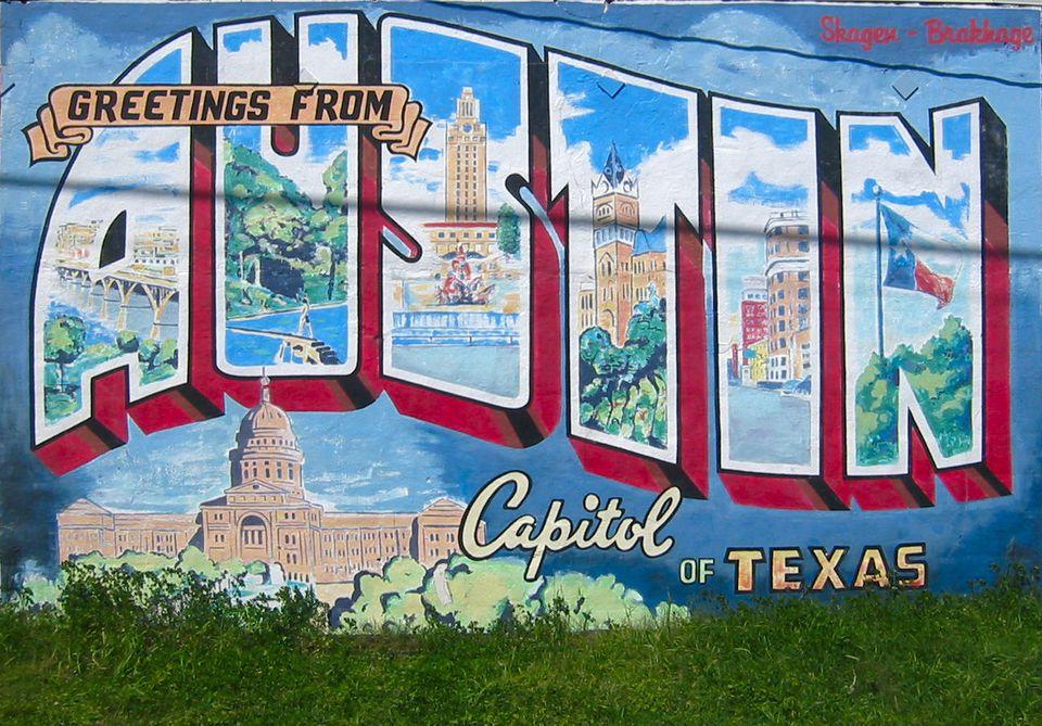 Greetings from Austin mural in Austin, TX