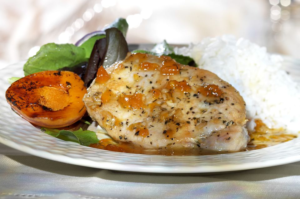 Chicken breast with apricot and rice