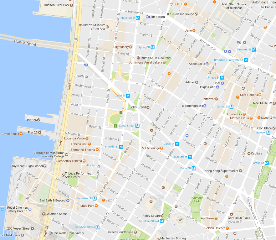 New York City SoHo and TriBeCa Neighborhood Map