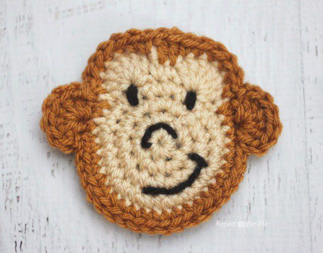 Monkey Crochet Applique Free Pattern