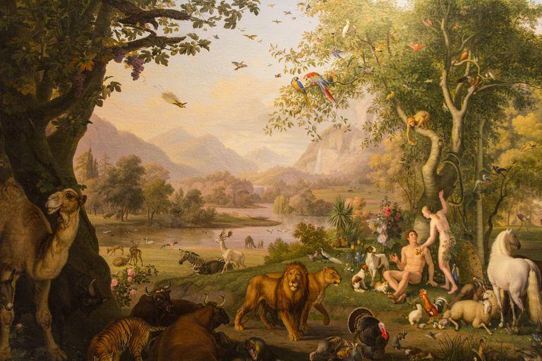 "Painting of ""Adam and Eve in Garden of Eden"" by Wenzel Peter."
