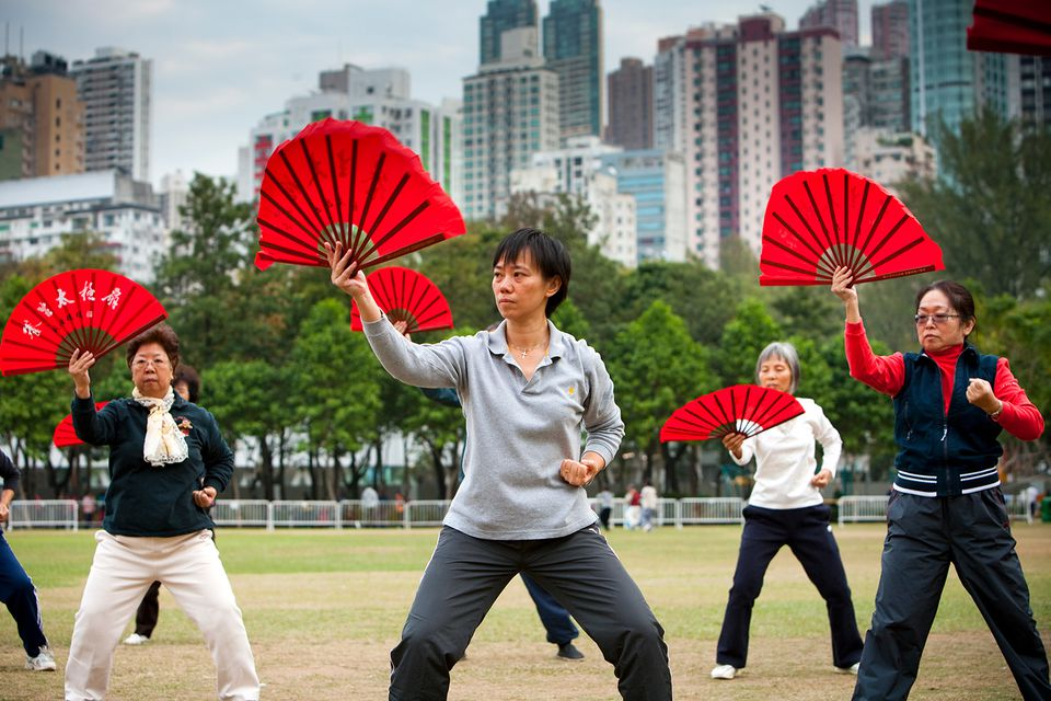 Morning Tai Chi and exercise in Victoria Park.