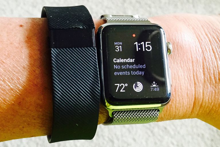 Fitbit Charge and Apple Watch on Wrist
