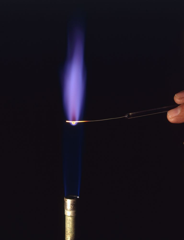 Potassium and its compounds burn violet or purple in a flame test.