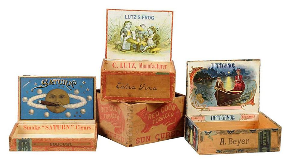 Early wooden cigar boxes, c. 1900