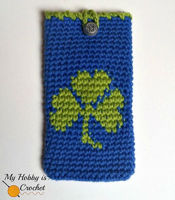 Tapestry Crochet Clover Phone Cozy Free Pattern